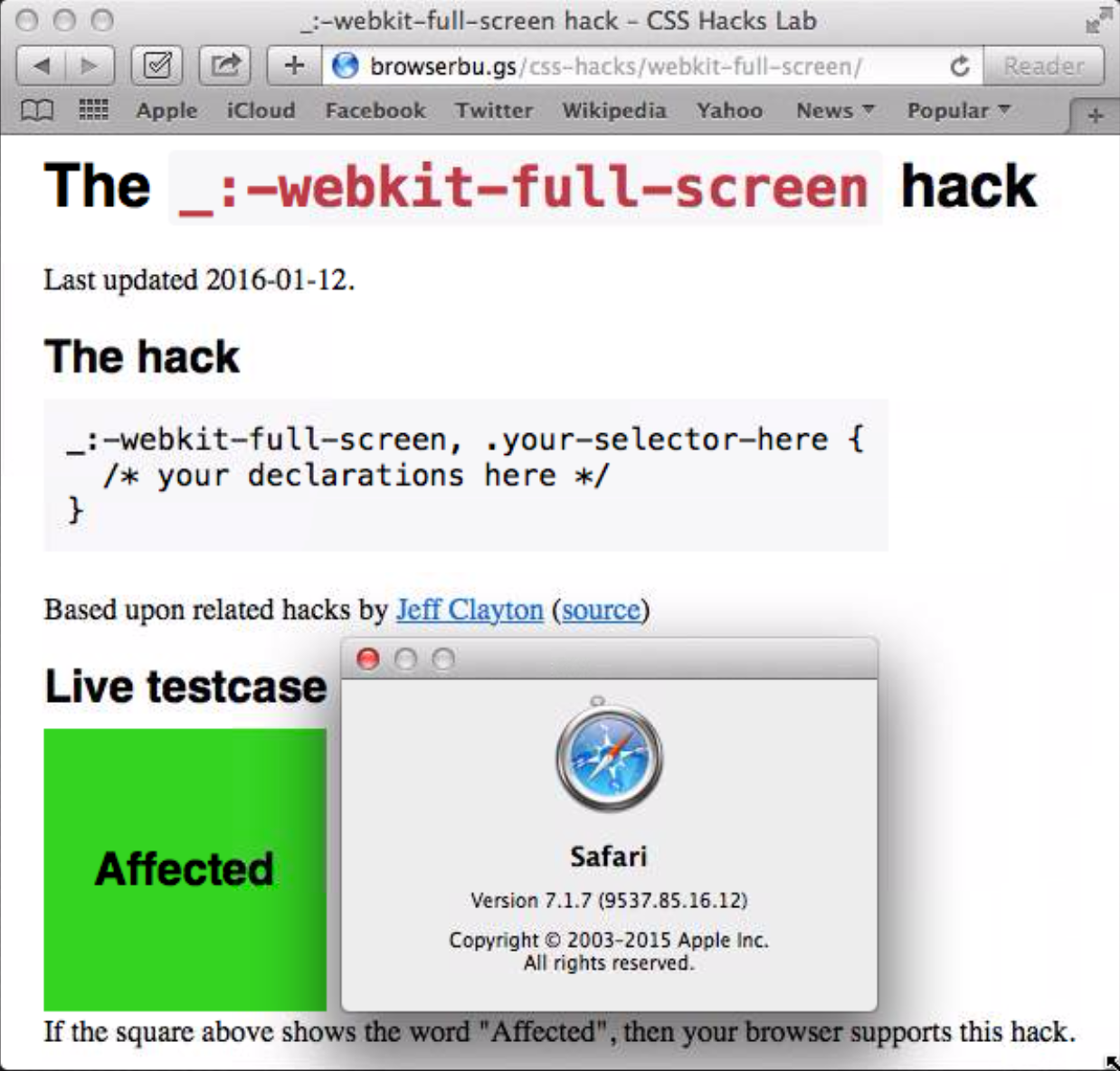 webkit-full-screen hack – CSS Hacks Lab